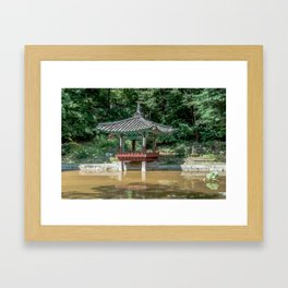 The aeryeonjeong in the Aeryeonji Pond of the secret garden_Changdeokgung Palace Framed Art Print