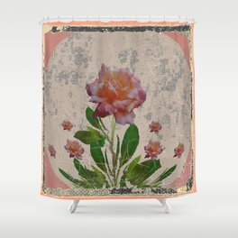 SHABBY CHIC CORAL ANTIQUE PINK ROSES Shower Curtain