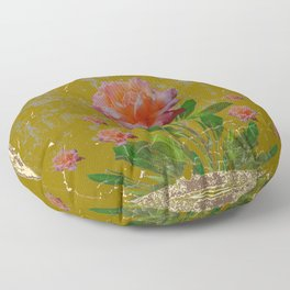 ANTIQUE AVOCADO COLOR  CORAL  PINK ROSES BOTANICAL ART Floor Pillow