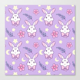 Sakura Bunny // Purple Canvas Print