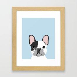 french bulldog art portrait - aqua light blue cute dog design Framed Art Print