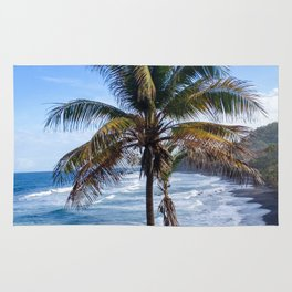 Black Sand Beaches and Palm trees Rug