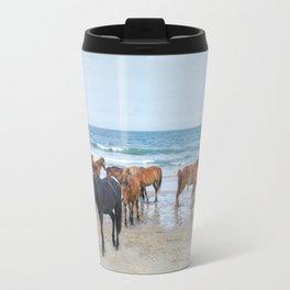 Outer Banks, Corolla, NC, Stallion and his Harem Matted Print Travel Mug