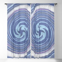 Blue swirl with polka dots Sheer Curtain