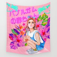 bubblegum Wall Tapestries featuring Bubblegum Baby  by Sara Eshak