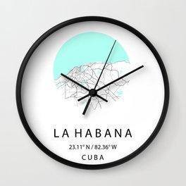 City Map of La Habana, CUBA Wall Clock