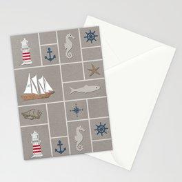 Nautical symbols on sandy background Stationery Cards