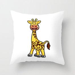 Cartoon Giraffe Giraff Happy Cute Present Son Throw Pillow