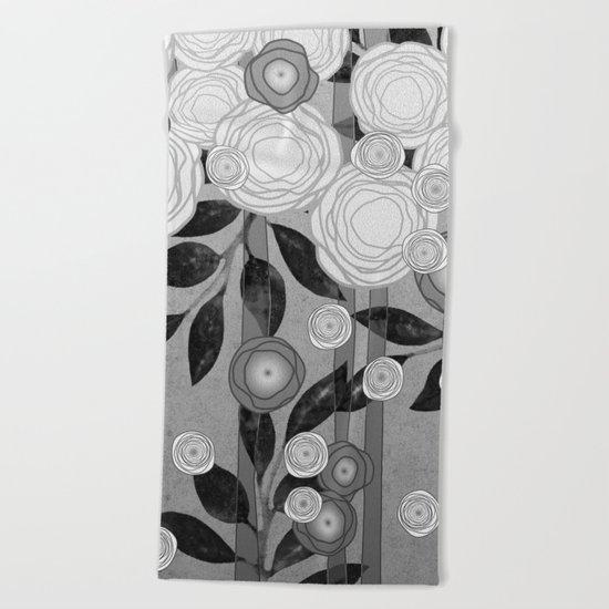 Black and White Flowers Design Beach Towel