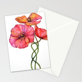 Peach & Pink Poppy Tangle Stationery Cards