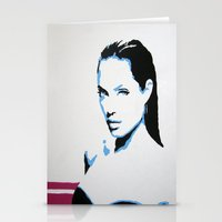 angelina jolie Stationery Cards featuring Angelina Jolie by VenusArtist