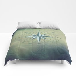Compass Graphic on Grey Textured background Comforters