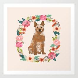 Australian Cattle Dog red heeler floral wreath dog gifts pet portraits Art Print