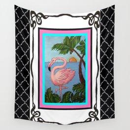 Flamingo Paradise Wall Tapestry