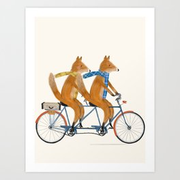 foxes lets tandem Art Print