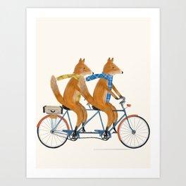 foxes lets tandem Art Print