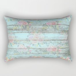 Old wood vintage roses overlay Rectangular Pillow