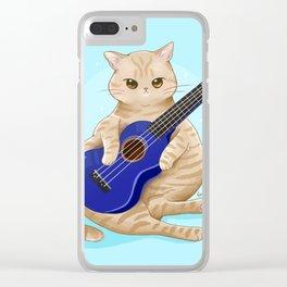 Cat with ukulele Clear iPhone Case