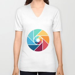 Focus lens colour color rainbow camera queer art gifts Unisex V-Neck