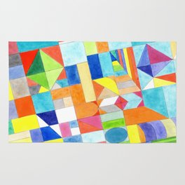 Playful Colorful Architectural Pattern Rug