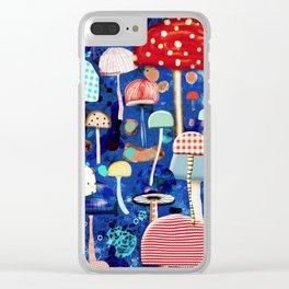 Blue Mushrooms - Zu hause Marine blue Abstract Art Clear iPhone Case