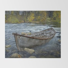 Canoe on the Thornapple River in Autumn Throw Blanket
