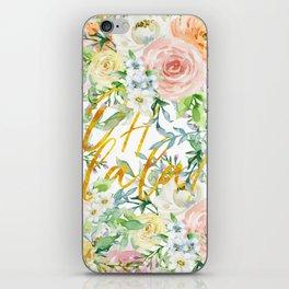 "Oh la la "" Fashionable Watercollor Floral Pattern iPhone Skin"