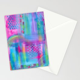 Pink with Blue Dots Stationery Cards