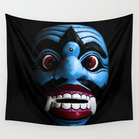 bali Wall Tapestries featuring Bali mask by VanessaGF