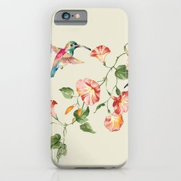 hummingbirds & morning glories iPhone Case