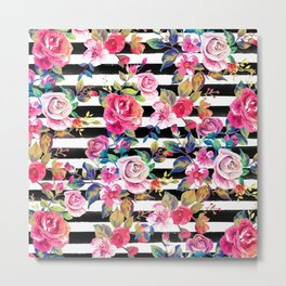 Cute spring floral and stripes watercolor pattern Metal Print