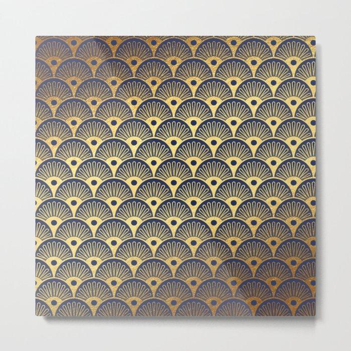Blue Fan Gold Metal Print