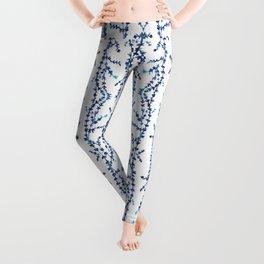 Vines Kaleidoscope (blue on white) Leggings