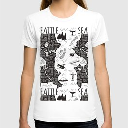 Seattle Illustrated Map in Black and White - Repeat T-shirt
