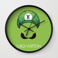 luigi Wall Clocks featuring Luigi Vuitton by Sam Pea