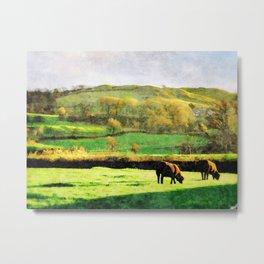 Black Sheep Grazing in Evening Sunshine in Lake District, UK Watercolor Metal Print