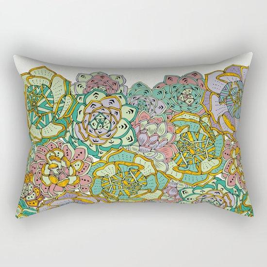 Blooming Succulents Rectangular Pillow