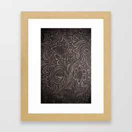 Distressed Smoky Tooled Leather Framed Art Print