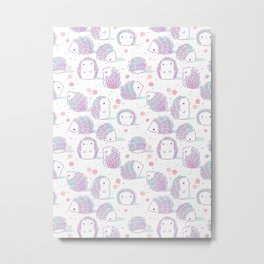 Spring Hedgehog Pattern Metal Print
