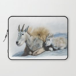 goat snow and cub Laptop Sleeve