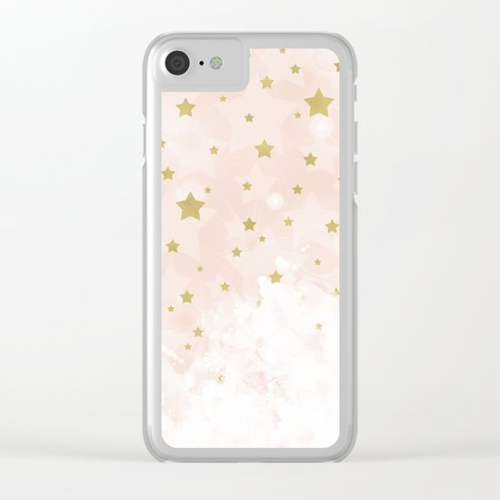 Gold stars on blush pink Clear iPhone Case