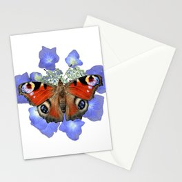 Peacock Butterfly on Lace-cap Hydrangea Stationery Cards
