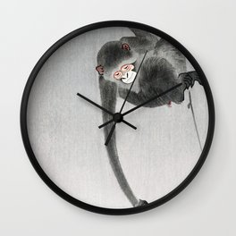 Vintage monkey and moon reflection Wall Clock