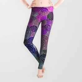 Abstract blue& purple glamour glitter circles and dots for Girls and ladies Leggings