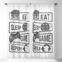 Eat Sleep Game Repeat   Video Game Console Gaming Sheer Curtain