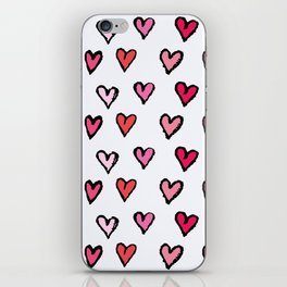Cute Girly Pink Hand Drawn Hearts on White Pattern iPhone Skin