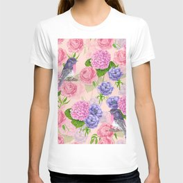 Robin and flowers, watercolor pattern T-shirt