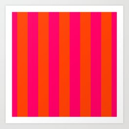 Bright Neon Pink and Orange Vertical Cabana Tent Stripes Art Print