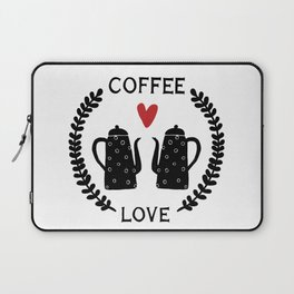 Coffee love coffeepots with heart and leaf ornament Laptop Sleeve