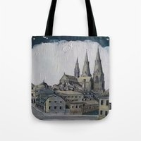 sweden Tote Bags featuring Uppsala Sweden by Alejandro D